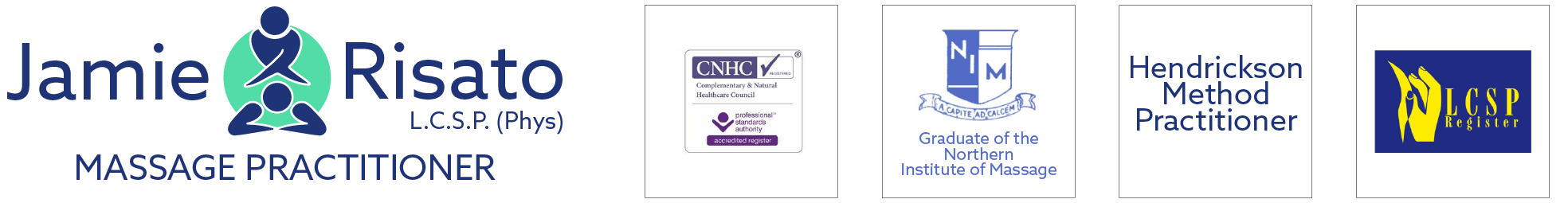 Sports and clinical massage therapy in Whitby Scarborough North Yorkshire Logo. Showing Jamie's qualifications and associations with CNHC, Northern Institute of Massage, Hendrickson Method and LCSP register.